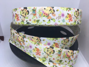 "1 yard 7/8"" EPCOT Flower and Garden Festival Minnie Mouse Grosgrain Ribbon - Disney Bow Making Wold Showcase WDW"