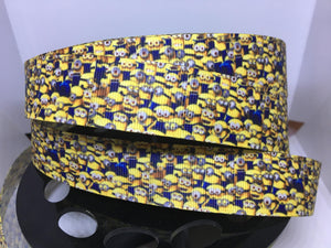1 yard 1 inch Minions Grosgrain Ribbon - Bow Maker -