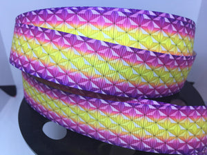 1 yard 1 inch Ombre' Rainbow Epcot Spaceship Earth exterior Grosgrain Ribbon