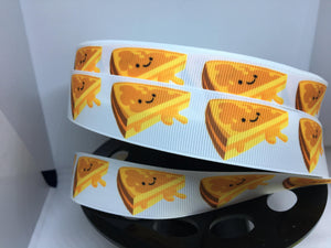1 yard 1 inch Kawaii Grilled Cheese Sandwich Food Grosgrain Ribbon - pretty Girly Bow Making -  Ribbon - Food Truck