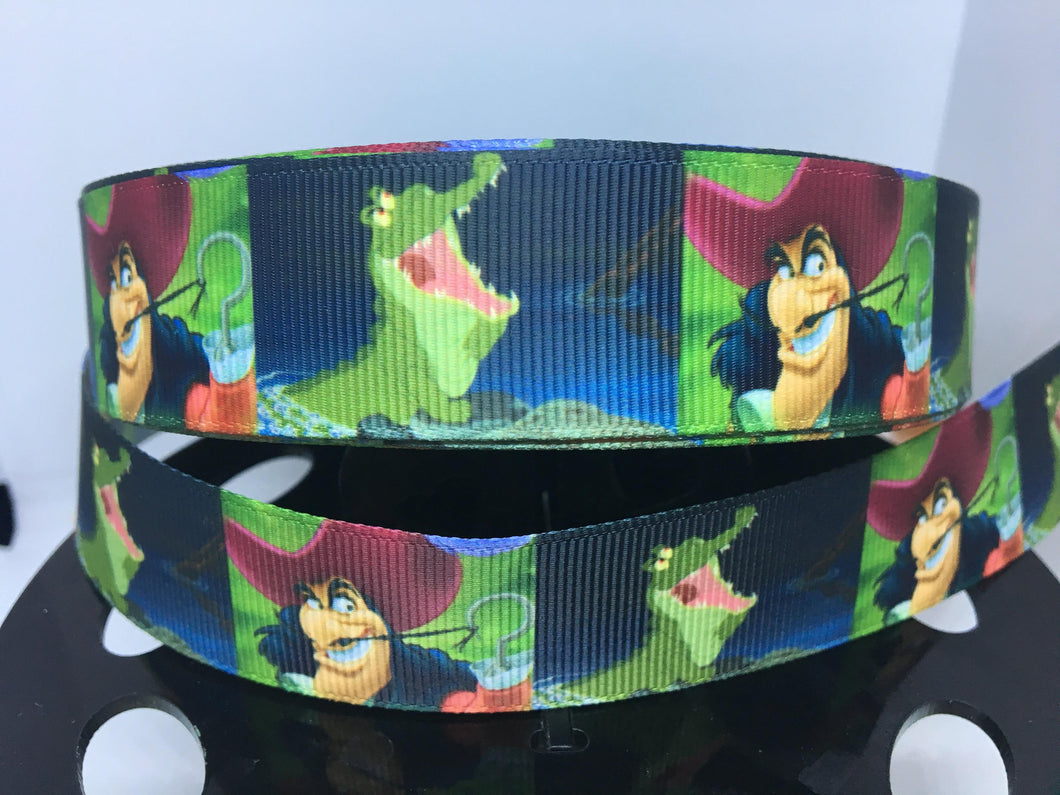 1 yard 1 inch Captain Hook Tic-Toc Crock Peter Pan Grosgrain Ribbon