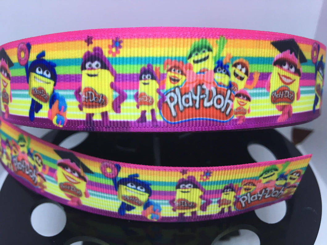 1 yard 1 inch Kids toys Play-Doh Print Grosgrain Ribbon - Comic Bow Making Ribbon - Rainbow Grosgrain
