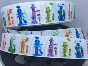 1 yard 1 inch Tiki Kids White Bkgrd Grosgrain Ribbon - Bow Making Ribbon -Tiki Birds Dole Whip Attraction Adventureland
