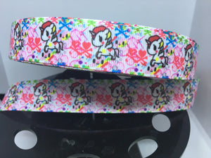 "1 yard 7/8"" Anime TokiDoki Pink Print Kawaii Grosgrain Ribbon - Bow Making Ribbon - Unicorno & Donutella Grosgrain - 22 mm Toki Doki"