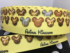 "1 yard 7/8"" Mickey Animal Kingdom Print Animal Print Print Grosgrain Ribbon - Zebra Giraffe Cheetah Tiger"