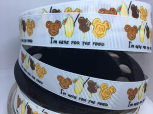 "1 yard 7/8"" ""I'm here for the food"" Grosgrain Ribbon - Park food/ snacks"
