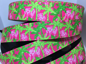 "1 yard 7/8"" Lilly Pulitzer Inspired  Grosgrain classic Palm Trees and Elephants pink and green palm Trees"