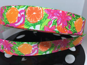"1 yard 7/8"" Lilly Pulitzer Citrus Oranges and Flowers Inspired Grosgrain"
