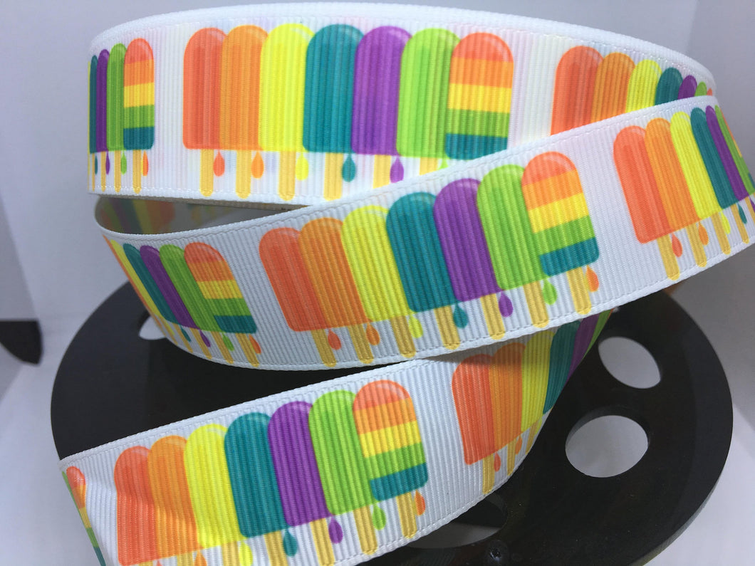 CLEARANCE 1 yard 1 inch Rainbow popsicle Bow Making Ribbon - Cosplay Grosgrain Ribbon Ice Cream Summer