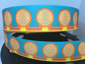 1 yard 1 inch Retro EPCOT Center l Grosgrain Ribbon - Disney Bow Making Wold Showcase WDW