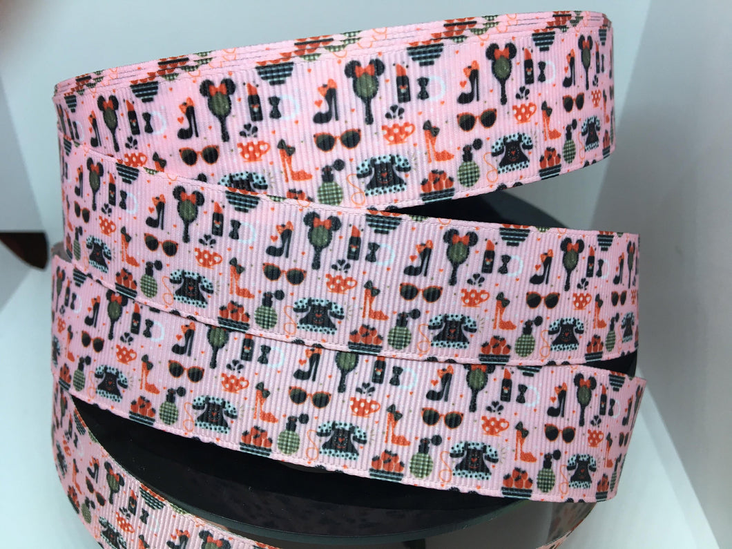 1 yard 1 inch Disney Minnie Mouse Pink Girly Stuff Grosgrain Ribbon Park  Bow Making Ribbon Phone Heels Mirror
