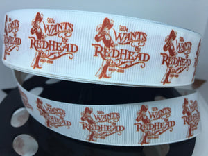 "1 yard 1 inch NEW Pirates of the Caribbean Print Grosgrain Ribbon ""We wants the Redhead"""