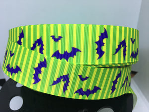 1 yard 1 inch Cast Member Halloween Party Green Stripe with Bats Uniform Print Grosgrain Ribbon - DLR Bow Making - MNSSHP Grosgrain Ribbon