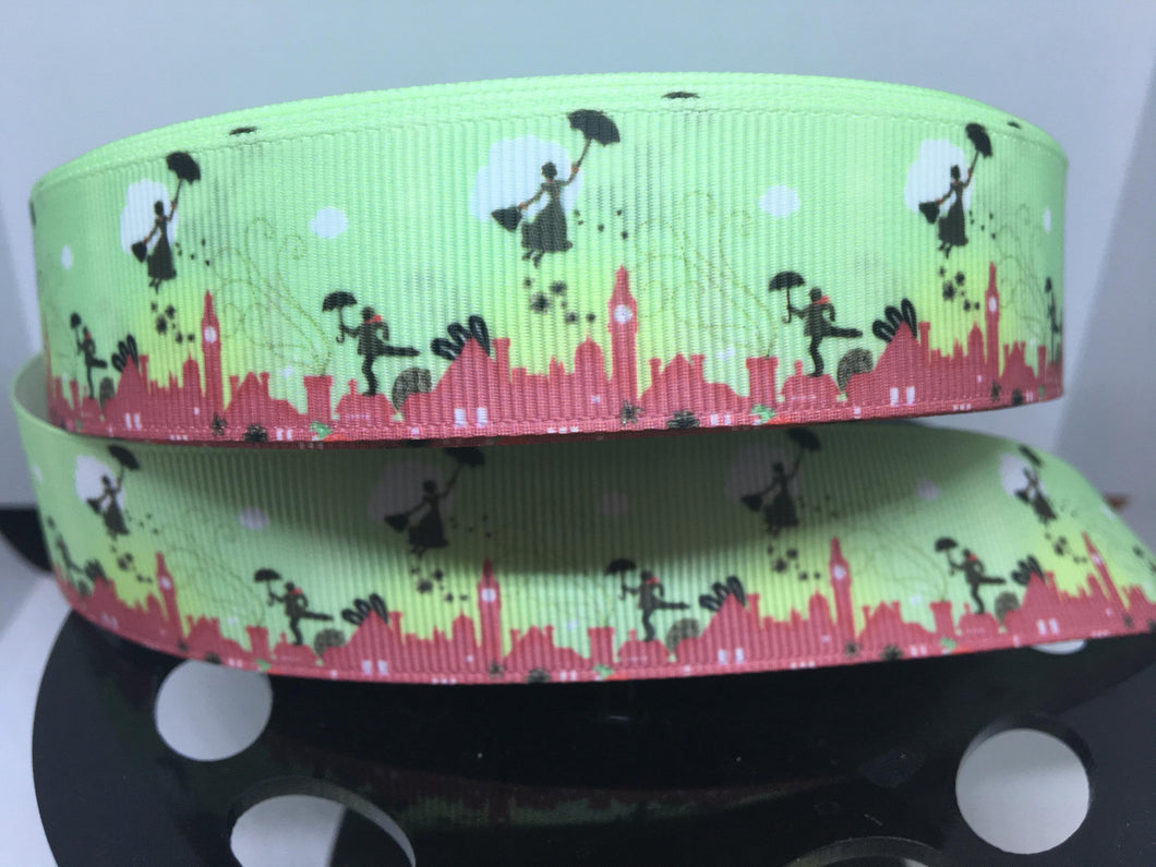1 yard 1 inch Mary Poppins Roof Tops of London Print Grosgrain Ribbon
