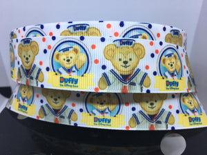 1 yard 1 inch Disney Duffy the Disney Bear Grosgrain Ribbon -  Cartoon Bow making Ribbon Print Duffy the Bear