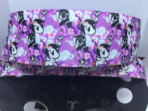 "1 yard 7/8"" Anime TokiDoki Purple Print Kawaii Grosgrain Ribbon - Bow Making Ribbon - Unicorno & Donutella Grosgrain - 22 mm Toki Doki"