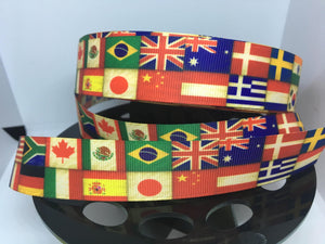 1 yard 1 inch EPCOT World Showcase Flags of the world Grosgrain Ribbon - Fun with Flags International Flags