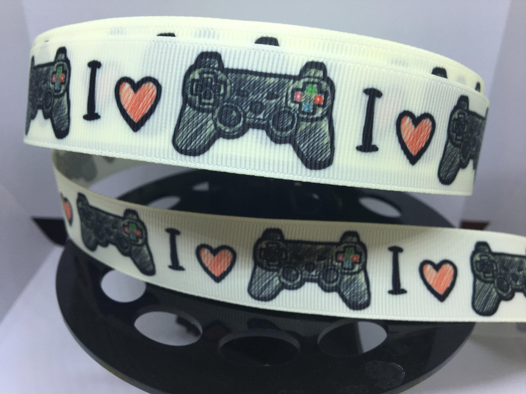 1 yard 1 inch  Gamer Video Game Controller Video Games Grosgrain Ribbon -  Bow Making Ribbon -  Video Game