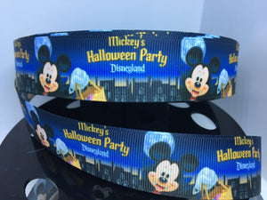 1 yard 1 inch Halloween Party Print Grosgrain Ribbon - DLR Bow Making Ribbon - Grosgrain Ribbon