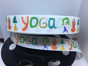 "1 yard 7/8"" Yoga Fitness Grosgrain Ribbon - Bow Making Ribbon - 22 mm Ribbon Work out Yogi"