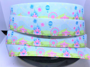 CLEARANCE BTY 1 yard 1 inch Disney Inspired Pastel Panorama Grosgrain Ribbon - Park Castle Bow Making Ribbon -DLR