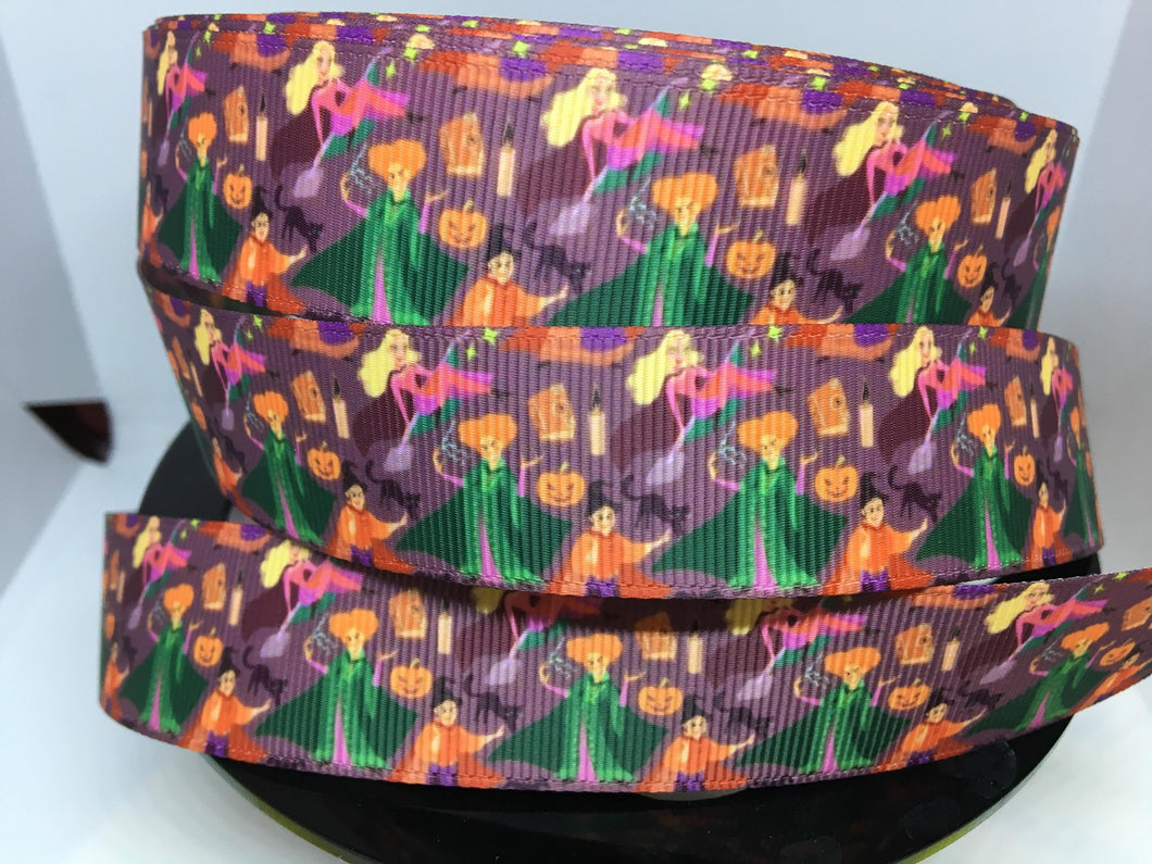 1 yard 1 inch Hocus Pocus Sanderson Sisters Disney Movie Grosgrain Ribbon