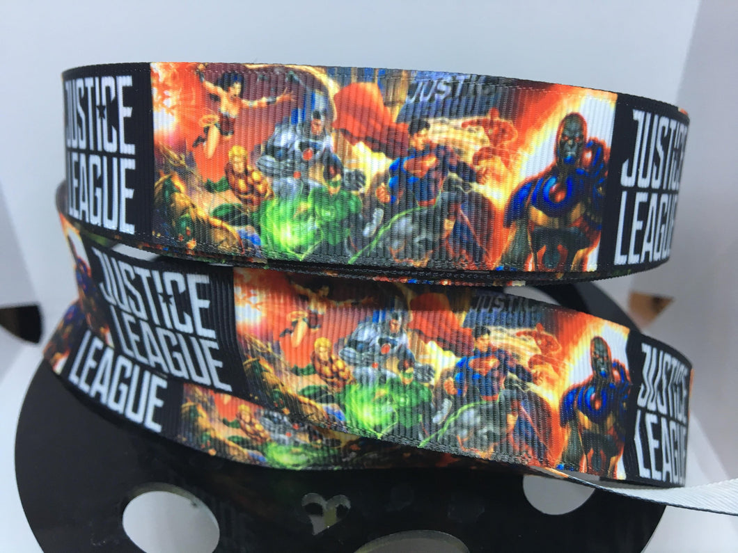 1 yard 1 inch League of Justice  Grosgrain Ribbon - Comic Bow Making Ribbon - Cosply Grosgrain Ribbon - 22 mm Ribbon Wonder woman Superman