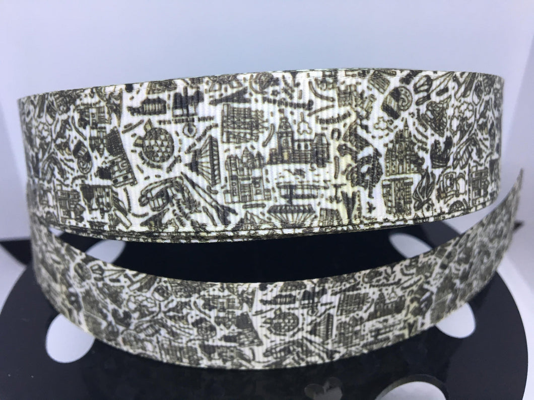 1 yard 1 inch Doodle Black & White Exclusive Ribbon Print Grosgrain
