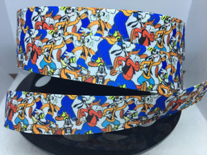 1 yard 1 inch Multi Print Disney Goofy collage Bow Blue and white with Red Grosgrain Bow Making Ribbon - Minnie Donald