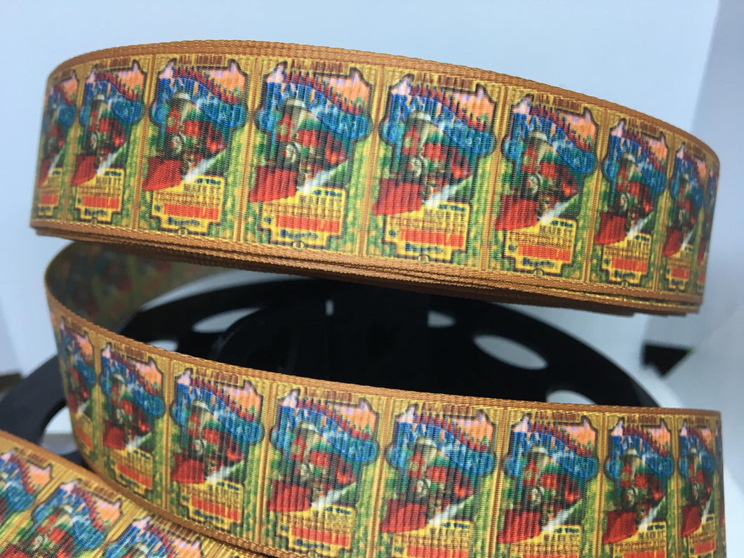 1 yard 1 inch Disneyland Attraction Poster Train Grosgrain Ribbon Ride E.P. Ripley Walt Disney Train