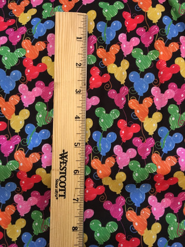PRINT ON DEMAND 100% Cotton Black background Mickey balloons purse Print fABRIC