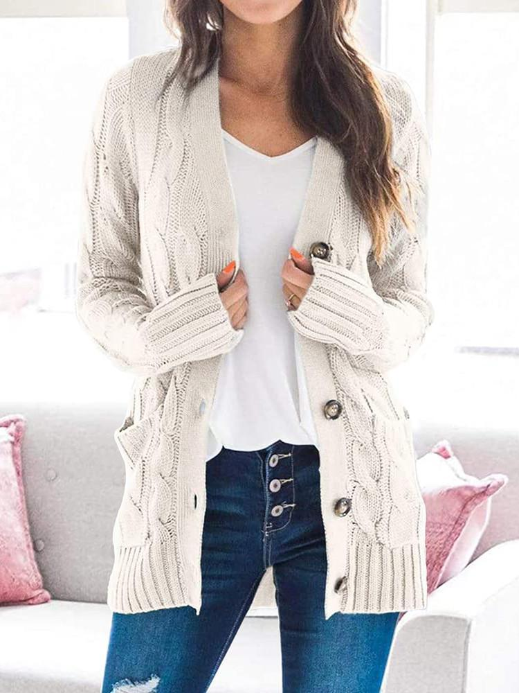 Loose Cable Button Solid Sweater Cardigan with Pockets