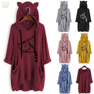 Sleeping Cat Oversize Hoodie With Cat Ears