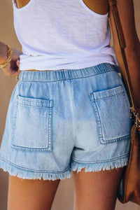 Adjustable Tassel Pockets Design Denim Shorts