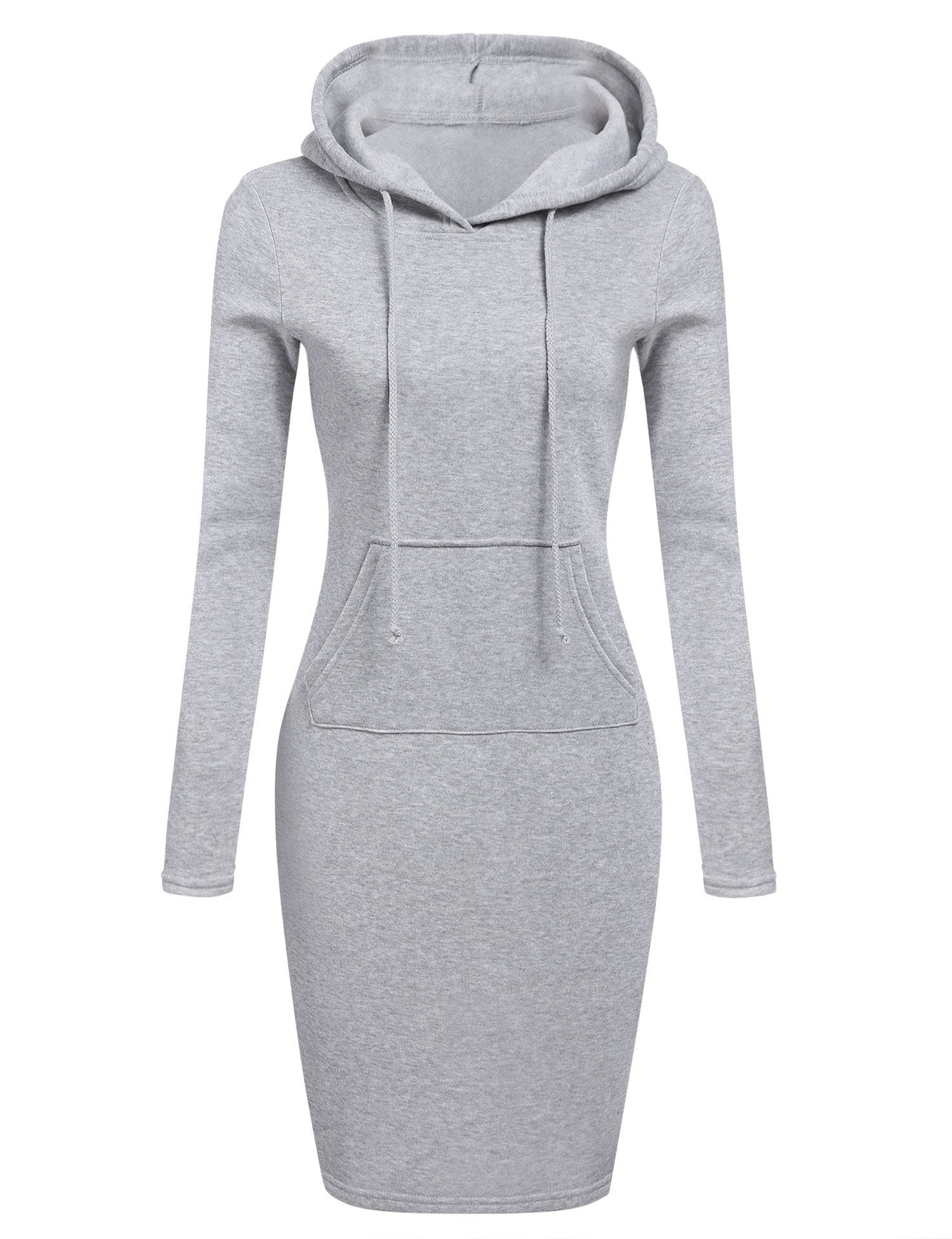 Women Stripes Pocket Knee Length Slim Casual Pullover Hoodie Dress