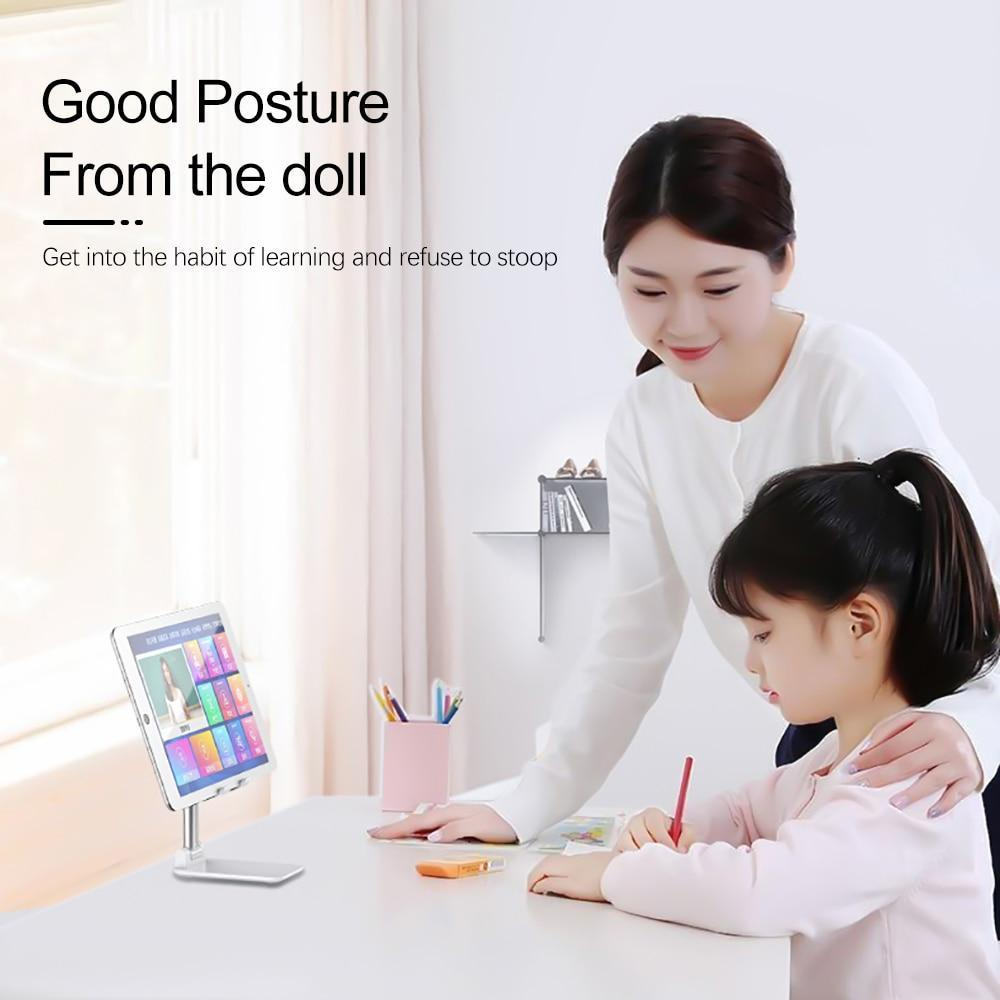 Foldable Metal Desktop Phone Stand Holder Adjustable Alloy Portable Ergonomic Design Mobile Phone Anti-Skid Pads Holder