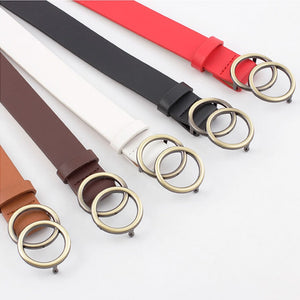 Faux Leather Belt with Double O-Ring Buckle