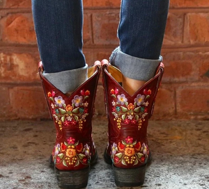 Women Boots Luxury Embroidery Winter Boots