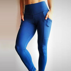 High Waist Pockets Patchwork Leggings