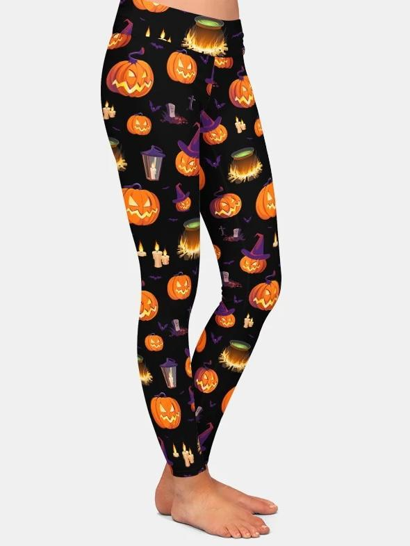 Pumpkin Head 3D Print Workout Leggings