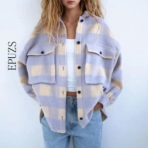 Loving Plaid Long Sleeve Jacket