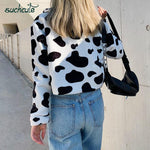 Load image into Gallery viewer, Cow Print Teddy Jacket