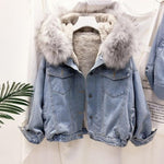 Load image into Gallery viewer, Warm Promise Hooded Denim Jacket