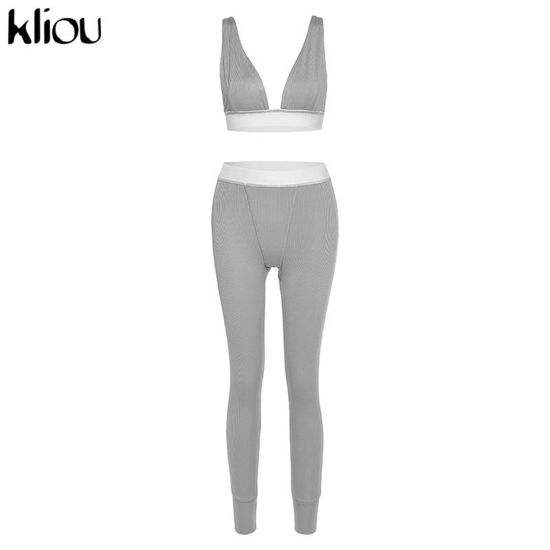 Women's Sleeveless V-neck Seamless Stretchy Tracksuit