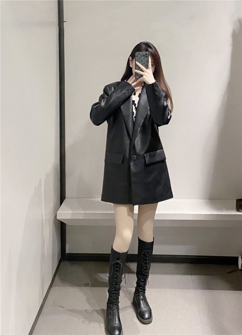 Let Loose PU Faux Leather Coat