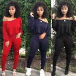 Load image into Gallery viewer, Women Long-sleeve Off-shoulder Crop Top Pant Set