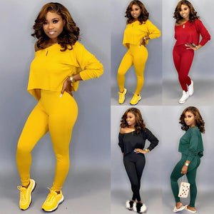 Women Long-sleeve Off-shoulder Crop Top Pant Set