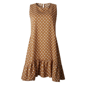 Wave Point Ruffle Polka Dot Dress