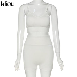 Women's Reflective Letter 2 Piece Shorts Set