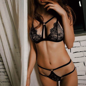 CDJLFH Women Sexy Backless Bra And Panty Set Lace Cross Straps Seamless Push Up Underwear Bra Set Women Wireless Lingerie Sets